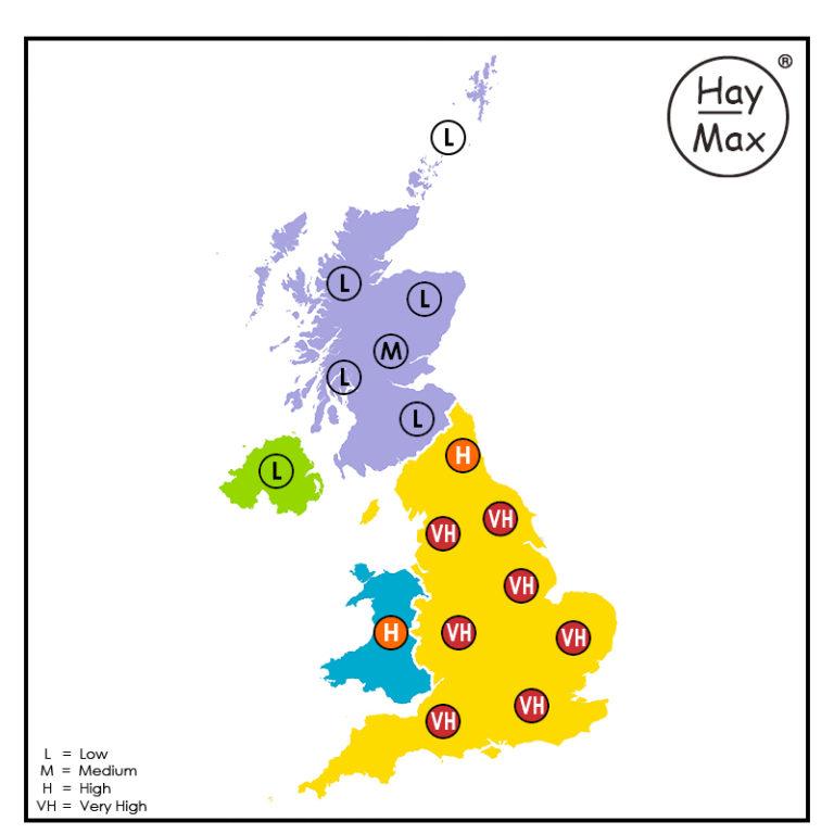 HayMax Pollen Map Saturday 12th June 2021